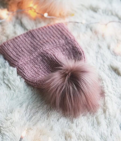 Rosé Adult Knitted Double Brim Beanie with Pink Moscato Faux Fur Pom Pom