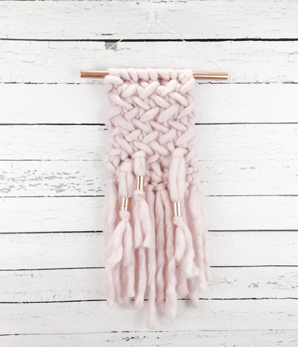 Blush Pink Knit Wall Hanging with Copper Detail // Regular Size