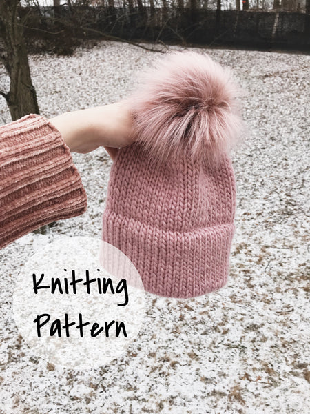 Knitting Pattern Adult Knitted Hat Double Brim Beanie    The Caribou ... 1f9f228e862