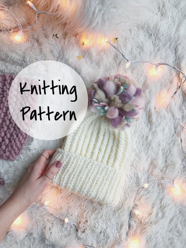 Knitting Pattern Adult Knitted Hat Ribbed Foldover Beanie // The Camden