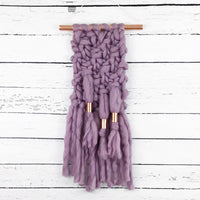 Mauve Purple Knit Wall Hanging with Copper Detail