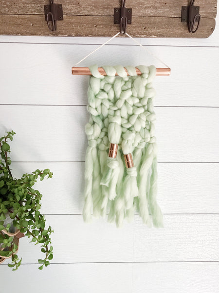 Mini Mint Green Knit Wall Hanging with Copper Detail