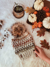 Adult Knitted Fair Isle Beanie with Faux Fur Pom Pom // The Hallowell