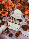 Adult Knitted Striped Beanie with Yarn Pom Pom // Retro Rainbow Stripes