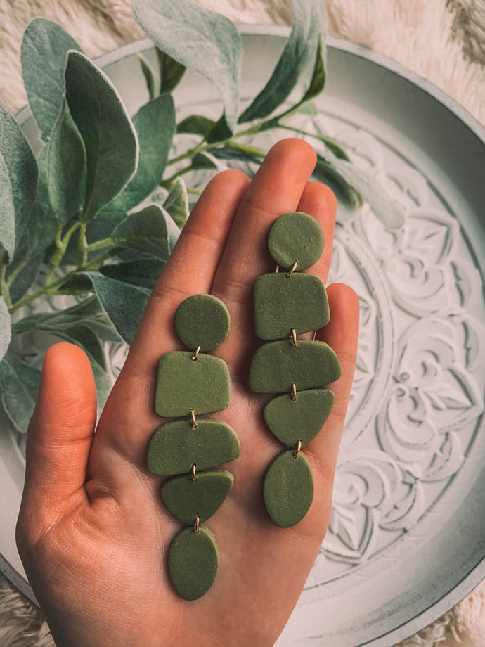 Abstract Dangle Earrings // Olive Green