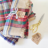 RED CAMEL PLAID Blanket Scarf Handmade Tartan Shawl Wrap Warmer