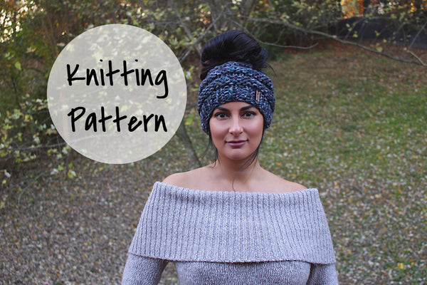 Knitting Pattern Adult Messy Bun Hat