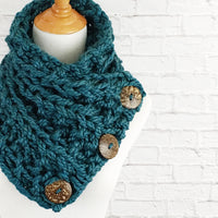Knit Button Scarf Chunky Knitted Wrap Warmer Snood - The Kenduskeag