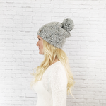 Knitted Adult Pom Pom Hat Slouchy Beanie with YARN Pom