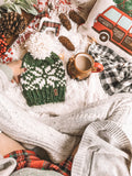 Snowflake Fair Isle Knit Beanie Adult Knitted Hat // Yarn Pom Pom