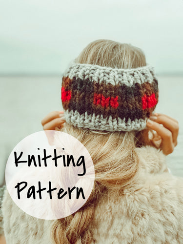 Easy Knitting Pattern Adult Plaid Headband Fair Isle Knitting // Buffalo Plaid Headband