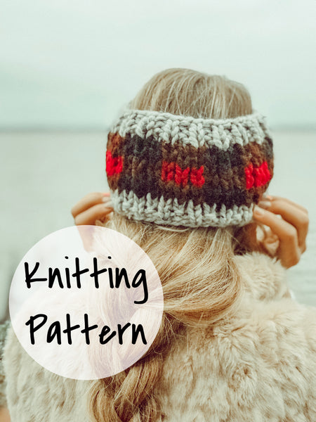 Knitting Pattern Adult Plaid Fair Isle Headband // Buffalo Plaid