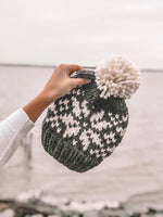 Charcoal Snowflake Fair Isle Knit Beanie Adult Knitted Hat // Yarn Pom Pom