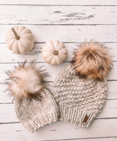 Adult Knitted Textured Beanie with Faux Fur Pom Pom // The Acadia - Wheat