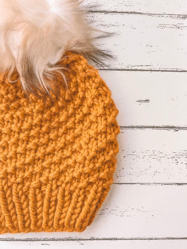 Adult Knitted Textured Beanie with Faux Fur Pom Pom // The Acadia - Butterscotch