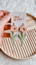 Textured Flower Dangles- Coral // Spring Collection