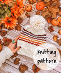 Knitting Pattern Adult Knit Hat Striped Beanie // Retro Rainbow Stripes