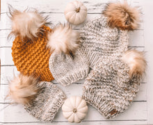 Baby Knitted Beanie with Faux Fur Pom Pom // Wheat