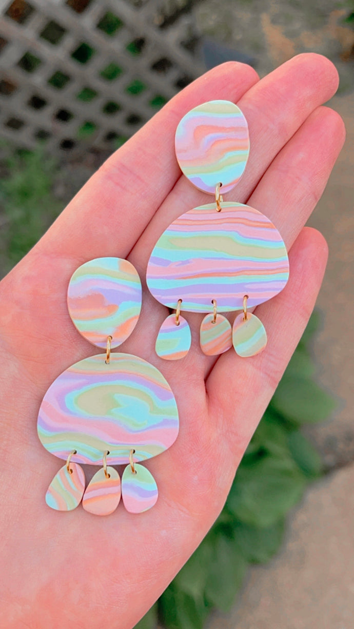 Groovy Pastel Abstract Dangles // Spring Collection