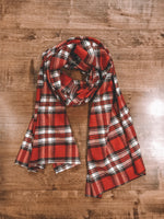 Red Plaid Blanket Scarf Handmade Tartan Shawl Wrap Warmer