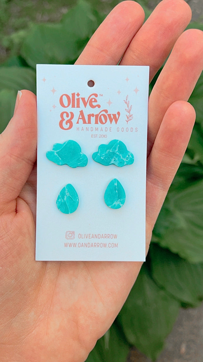 Lil Baby Clouds + Raindrops Aqua Quartz Stud Pack // Spring Collection