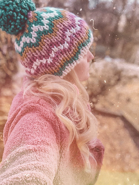 Adult Knitted Fair Isle Double Brim Beanie with Pom Pom // The Katahdin