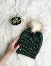 Adult Knitted Ribbed Beanie with Faux Fur Pom Pom // The Rockland
