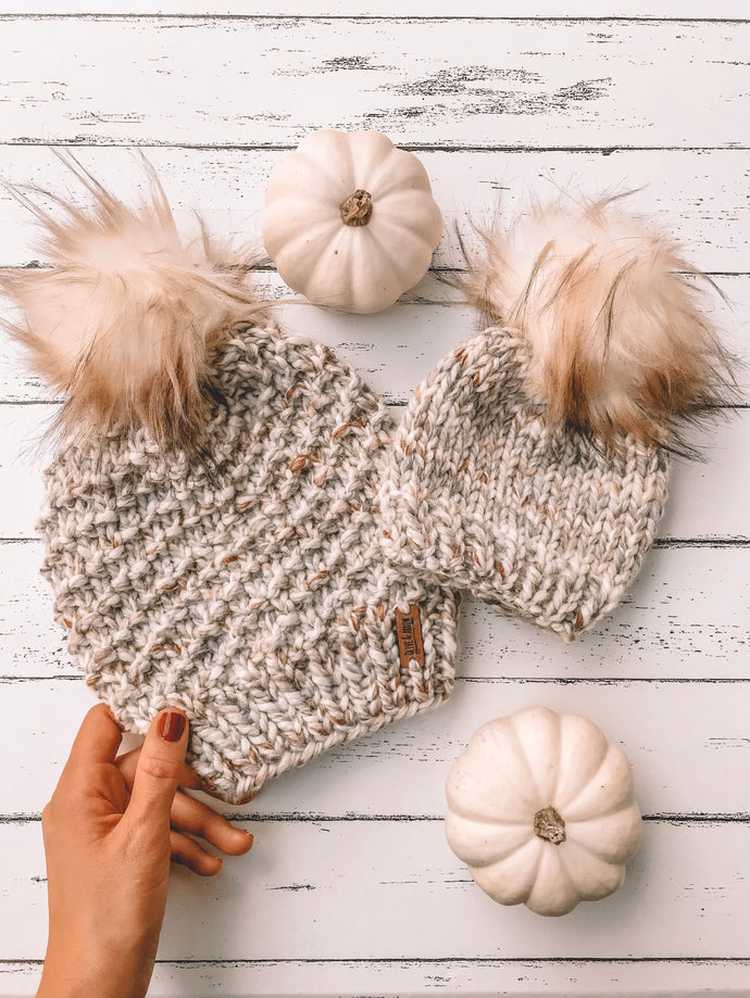 Baby Knitted Beanie with Faux Fur Pom Pom // Fossil