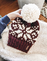 Wine Snowflake Fair Isle Knit Beanie Adult Knitted Hat // Yarn Pom Pom