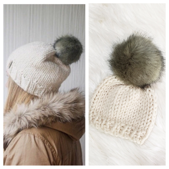 Mommy and Me Hats Knit Baby and Adult Beanie Set Handmade Faux Fur Pom Pom // Choose Pom