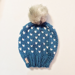Fair Isle Adult Knit Hat Pom Pom Slouchy Beanie Faux Fur Pom