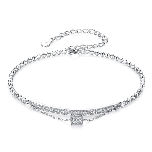 Sterling Silver Double Layer Zircon Bracelet (Silver)