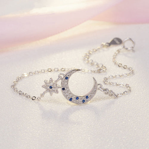 HONEYBURGH Sterling Silver Moon Star Zircon Bracelet