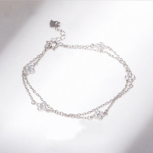 HONEYBURGH Sterling Silver Double Layer Zircon Bracelet