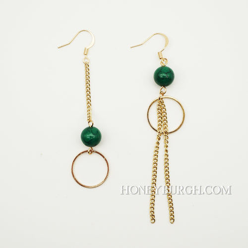 Summer Green Unsymmetrical Earrings