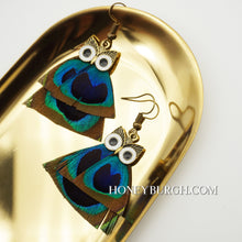 Owl Earrings with Peacock Feather