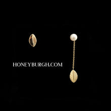 Sterling Silver Leaf Pearl Earrings (18k Gold Plated)