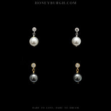 Sterling Silver Zircon Pearl Earrings (2 Colors Available)