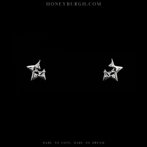 Sterling Silver Broken Stars Zircon Stud Earrings (Silver)