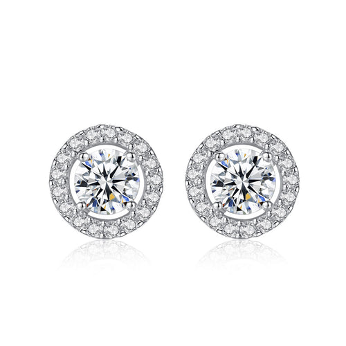 Sterling Silver Round Shape Zircon Stud Earrings (Silver)