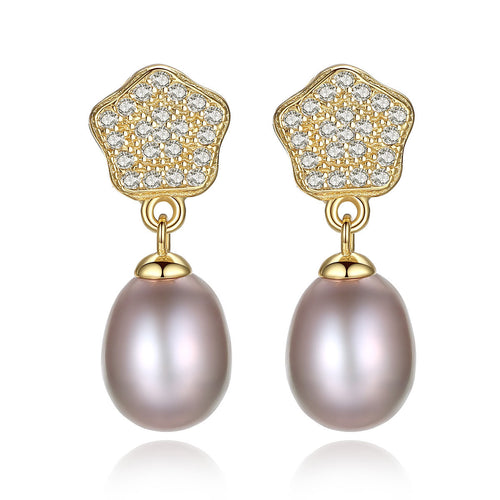 HONEYBURGH Sterling Silver Flower Zircon Purple Pearl Drop Earrings (18k Gold Plated)