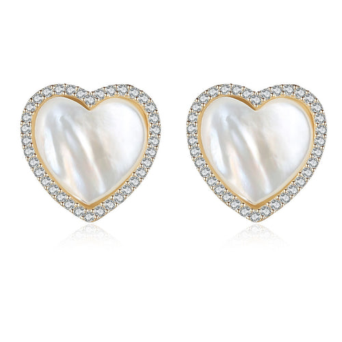HONEYBURGH Sterling Silver Heart Shape Zircon Seashell Stud Earrings (18k Gold Plated)