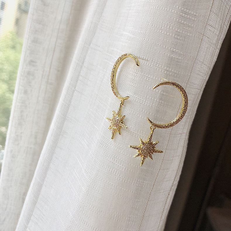 HONEYBURGH Moon Star Drop Earrings with Sterling Silver Earring Pin (18k Gold Plated)