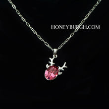 Christmas Reindeer Necklace with Swarovski Crystal (14k Gold Plated)