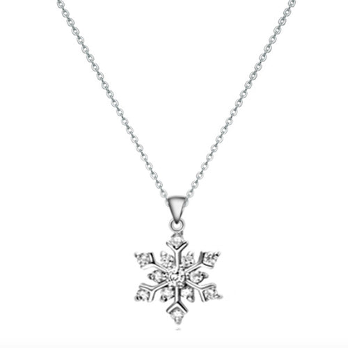 Sterling Silver Snowflake Zircon Necklace (Silver)