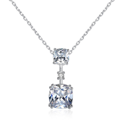 HONEYBURGH Sterling Silver Zircon Drop Necklace (Silver)