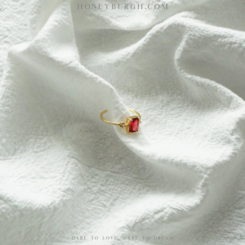 Sterling Silver Red Zircon Open Ring (18k Gold Plated)