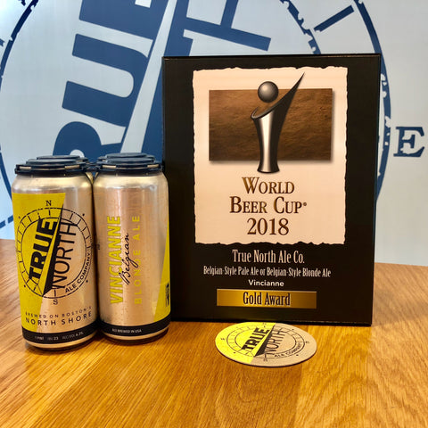 A four-pack of Vincianne and the World Beer Cup 2018 Gold Award plaque