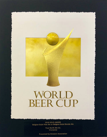 "World Beer Cup 2018 Gold Award plaque for ""Vincianne"", a Belgian Blonde Ale"