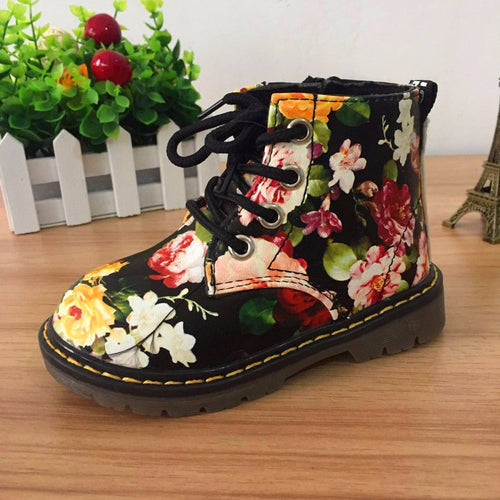 Girls Floral Design Boots